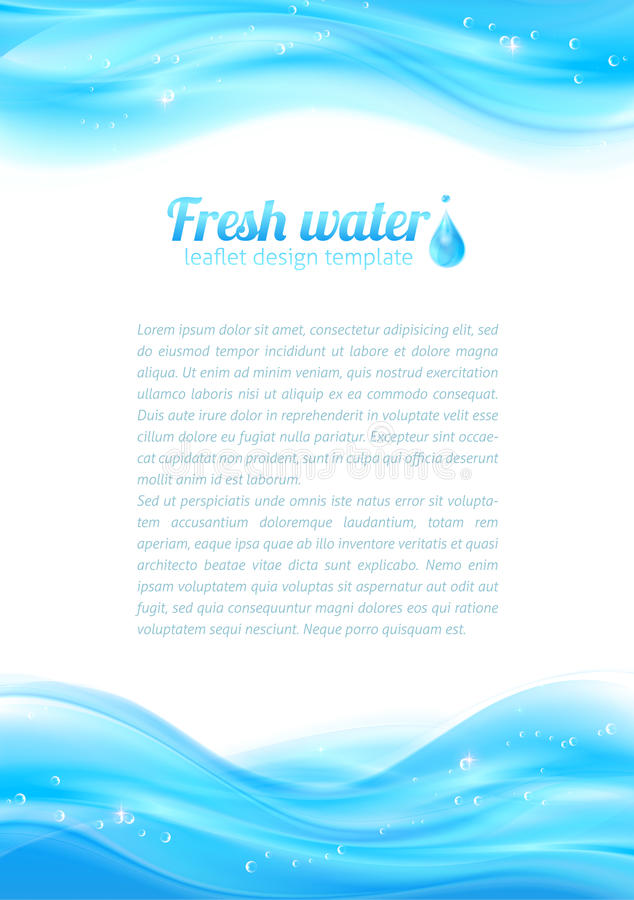 Fresh water vector leaflet template royalty free illustration