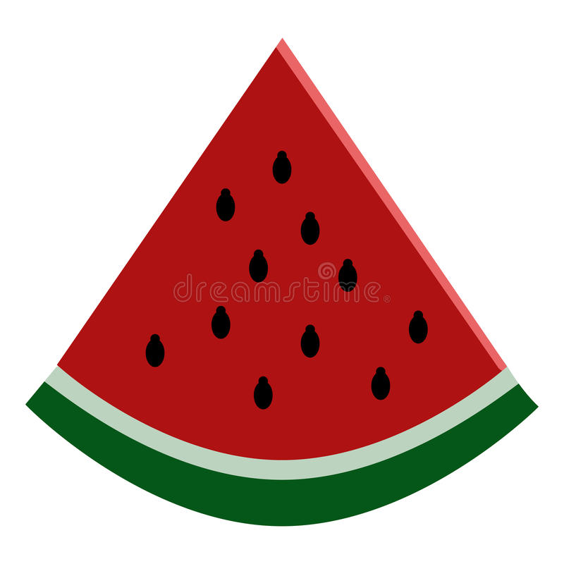 Fresh watermelon slice icon, vector illustration. Flat style design isolated on white. Colorful graphics stock illustration