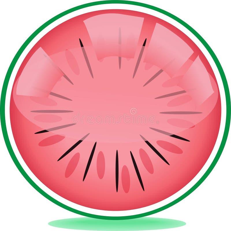 Fresh watermelon slice web butto vector illustration
