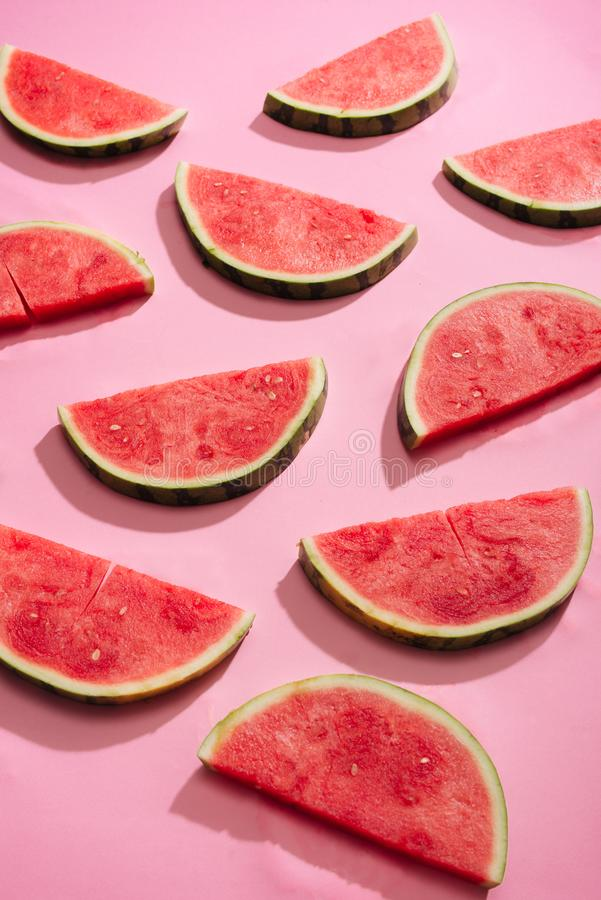 Fresh watermelon slices, arranged in pattern.  stock images