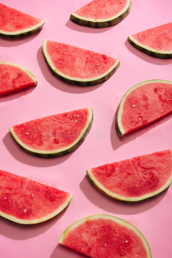 Fresh watermelon slices, arranged in pattern.  royalty free stock photography