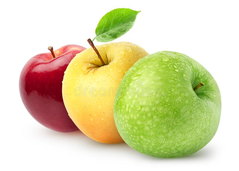 Isolated wet apples. Green, yellow, red apple fruits isolated on white background with clipping path royalty free stock photography