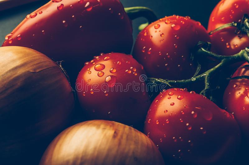 Fresh wet tomatoes in drops of water, golden onion, bell pepper royalty free stock photos