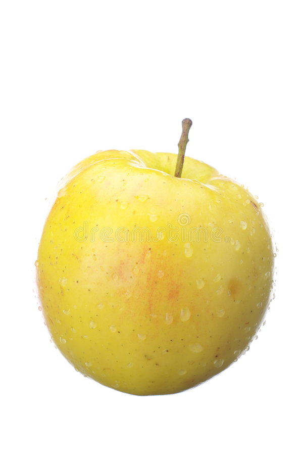 Fresh Wet Yellow Apple Royalty Free Stock Images