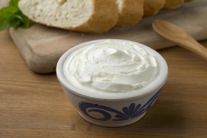 Fresh white cheese, called fromage blanc in France. Used as a spread royalty free stock photos