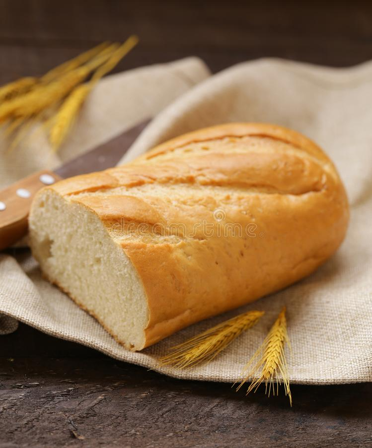 Fresh white loaf of bread royalty free stock image