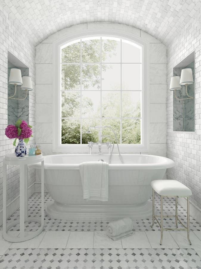 Fresh white monochrome luxury bathroom stock illustration