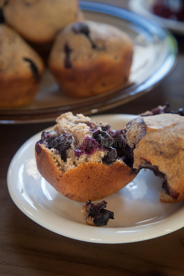 Fresh Whole Grain Blueberry Muffin stock photo