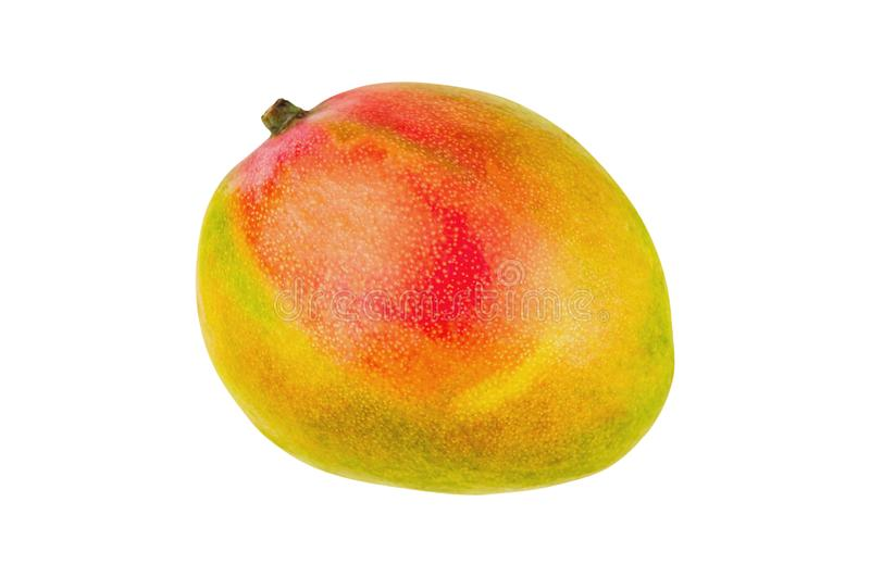 Fresh whole ripe mango isolated on white background. Top view royalty free stock photos