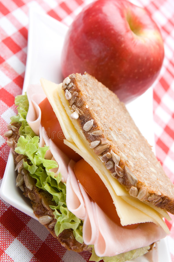 Fresh wholemeal cheese and ham sandwich royalty free stock photography