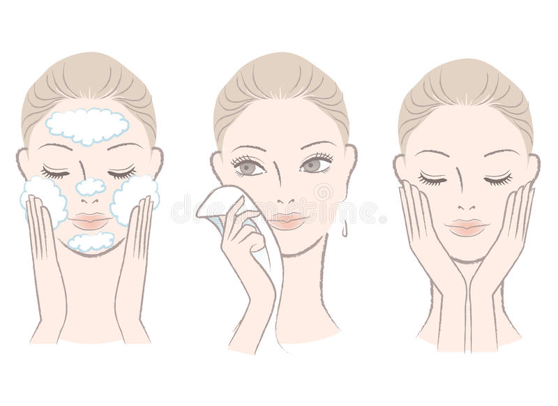 Fresh woman in process of washing face vector illustration