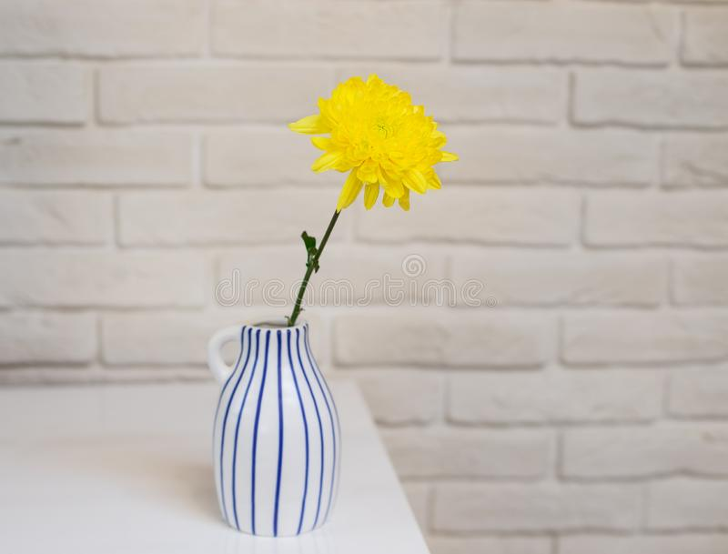 Fresh yellow flower in a vase on a background of a white brick wall. Scandinavian interior royalty free stock photo