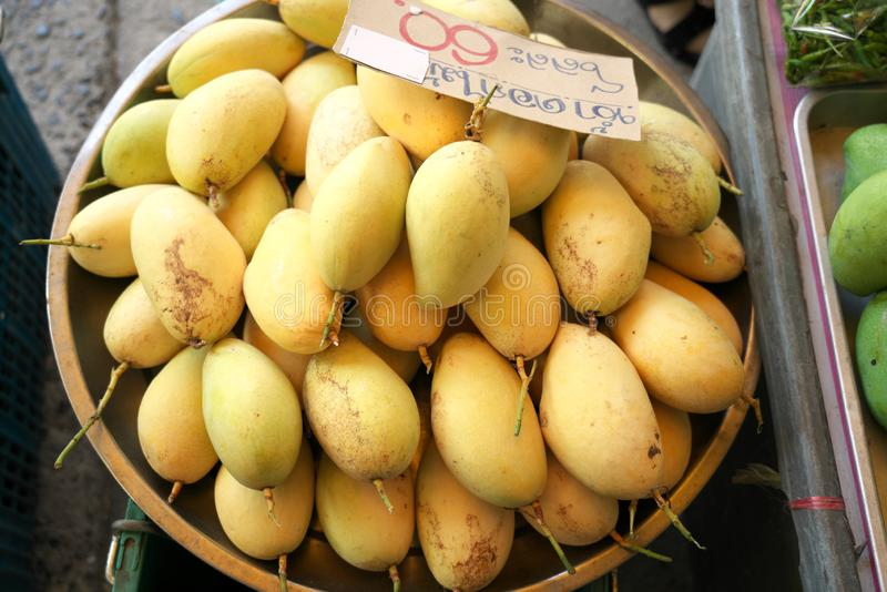Fresh yellow mangos at open market in Chachoengsao, Thailand. Chachoengsao,Thailand-December 5, 2019: Fresh yellow mangos at open market in Chachoengsao stock images