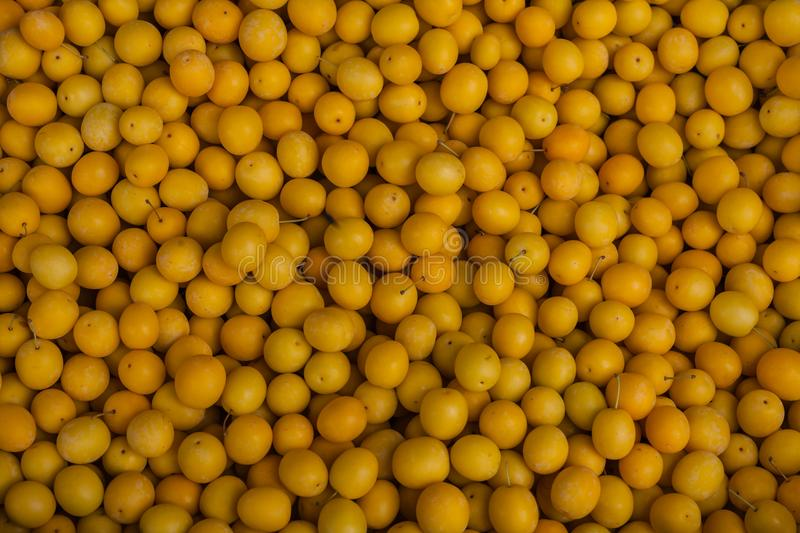 Fresh yellow plum tkemali on local market georgia stock images