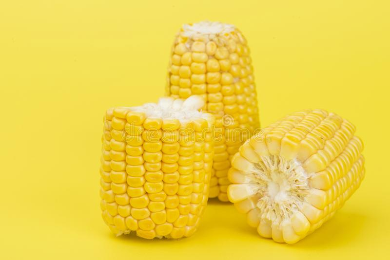 Fresh yellow sweet corn on yellow. Background royalty free stock image