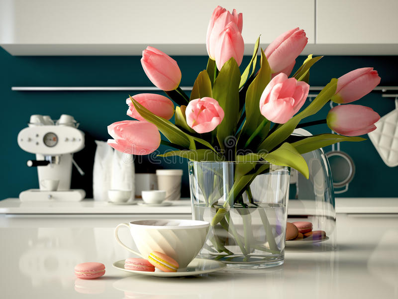 Fresh yellow tulips on kitchen background. 3d royalty free stock photos