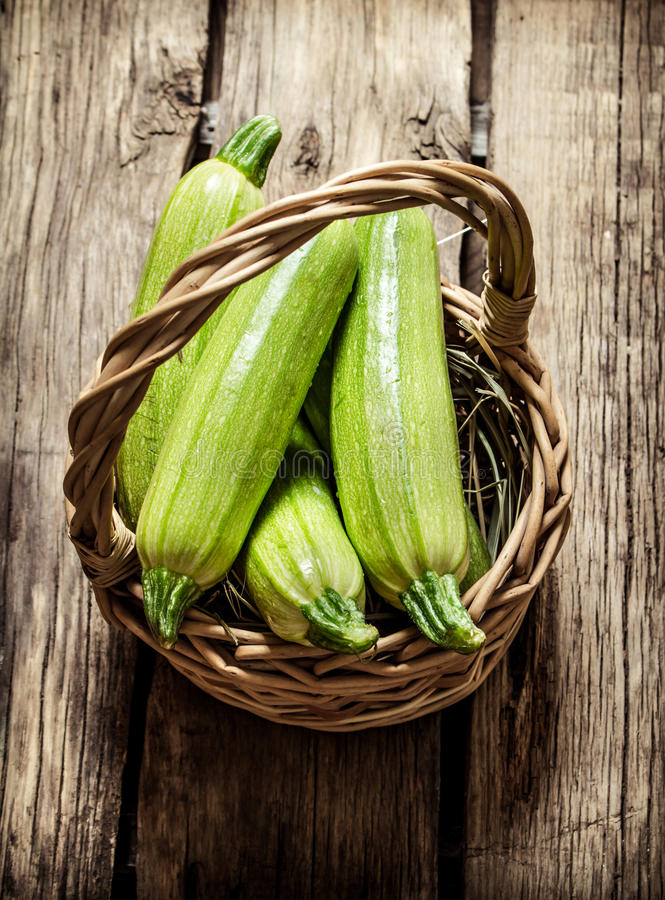 Fresh zucchini in the basket. royalty free stock image