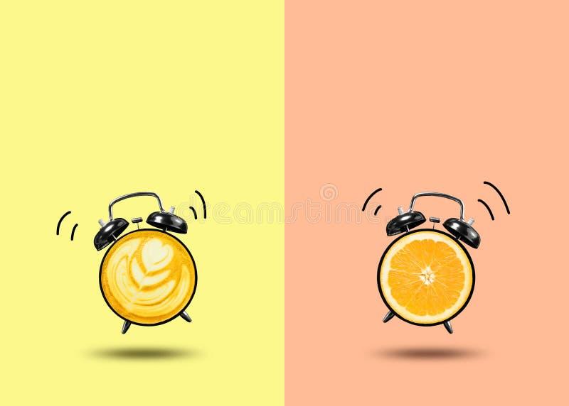 freshing время с часами апельсина и кофе на красочном иллюстрация штока