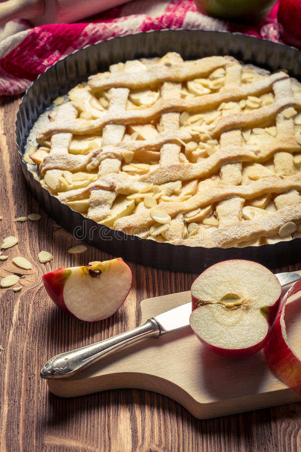 Freshly baked apple pie and fruit royalty free stock photos