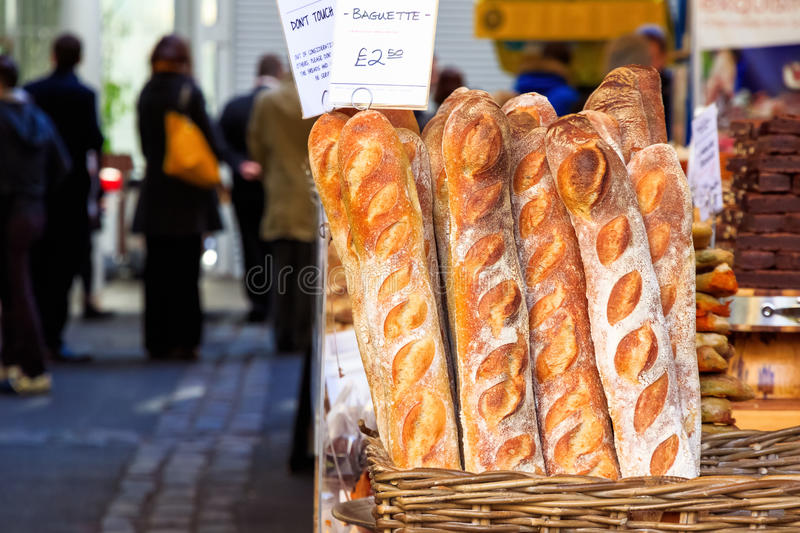 Freshly Baked Baguette on Display royalty free stock photos