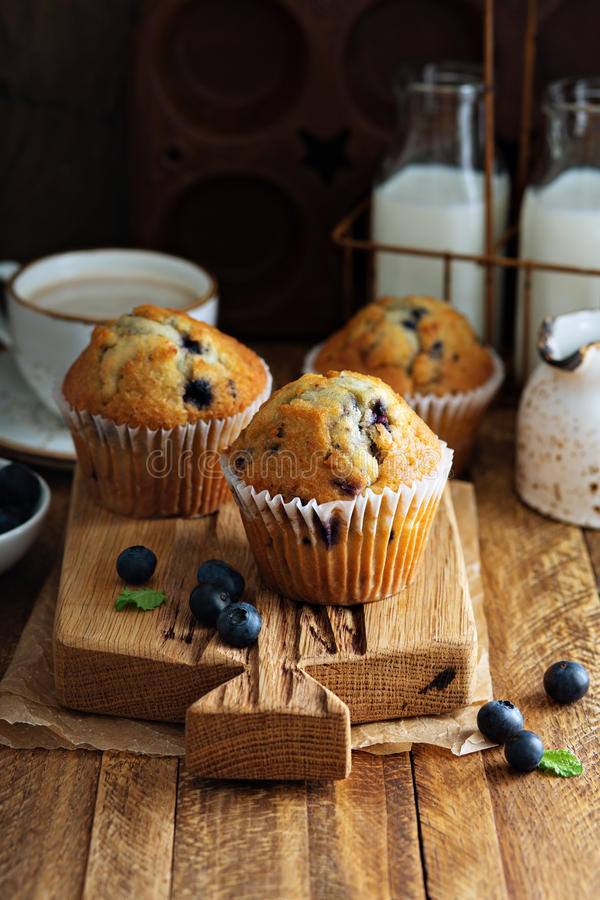 Freshly baked blueberry muffins in a rustic setting stock photos