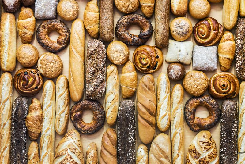 Freshly baked bread and bakery products on the counter stock photos