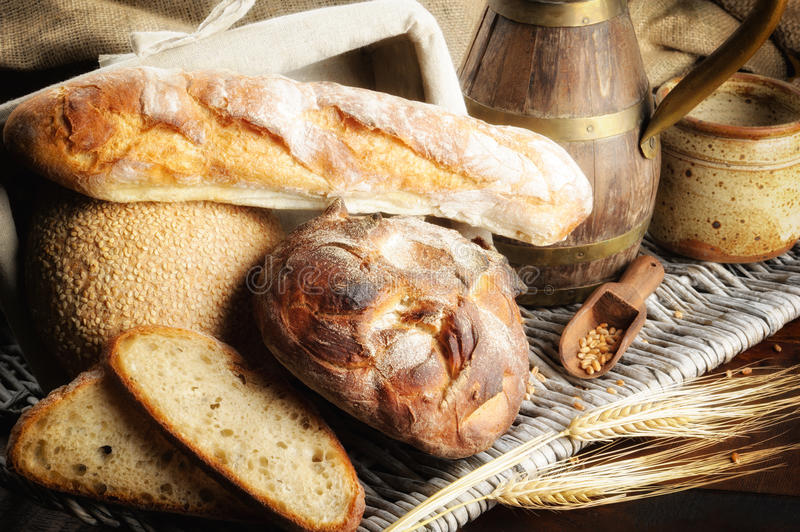 Freshly baked bread in countryside setting royalty free stock photography