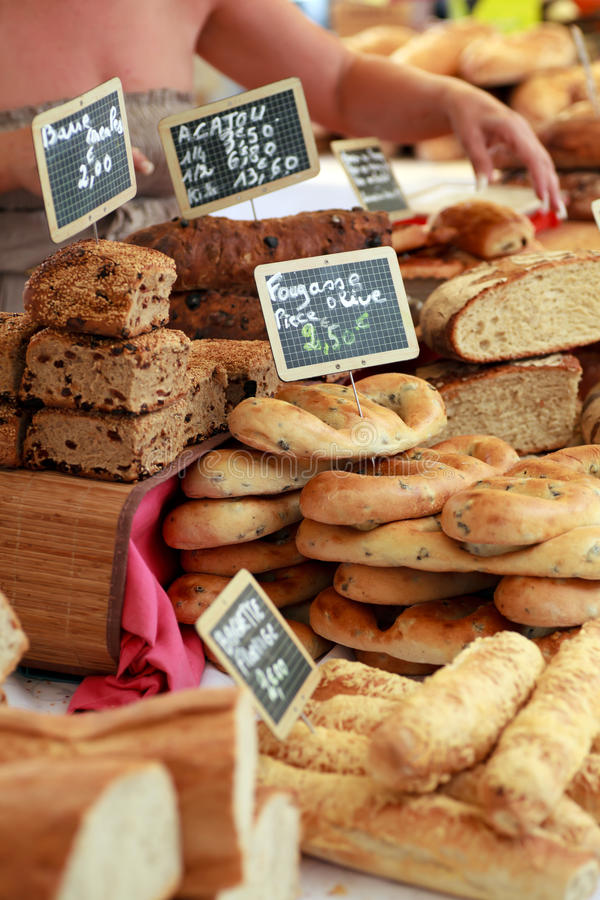 Freshly baked Bread from a Paris market. stock image
