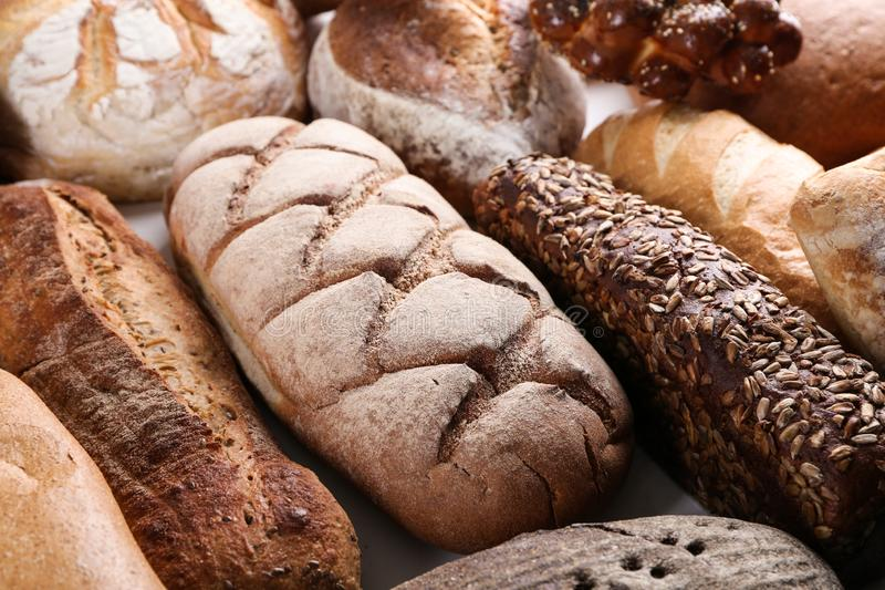 Freshly baked bread products, closeup stock photos