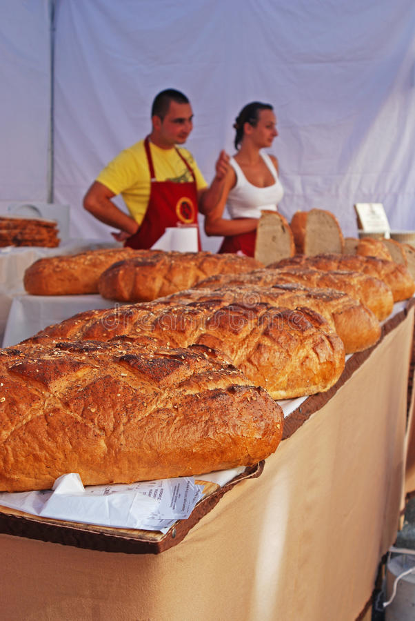 Freshly Baked Bread sold at Stall royalty free stock images
