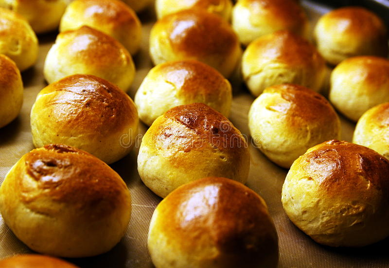 Freshly baked buns royalty free stock photos