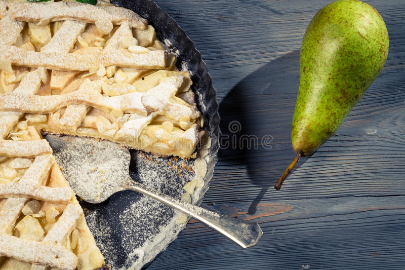 Freshly baked cake with pears royalty free stock photo