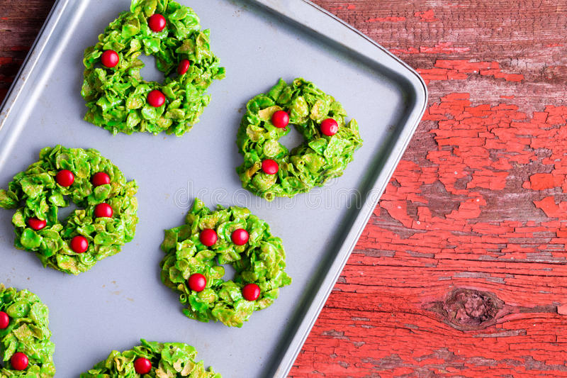 Freshly baked Christmas wreath cookies royalty free stock image