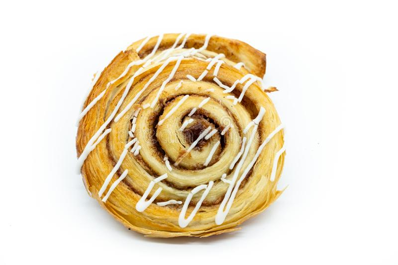 Freshly Baked Cinamon Whirl isolated on a White Background. Good image for baker or confectioners royalty free stock photos