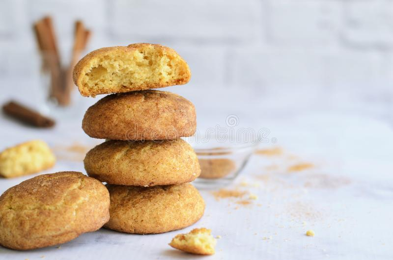 Freshly Baked Cinnamon Cookies, Snickerdoodle Cookies on Bright Background stock images