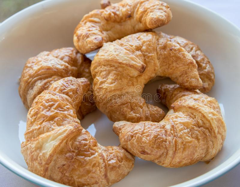Freshly baked French croissants. Freshly baked French croissants on white plate royalty free stock photos