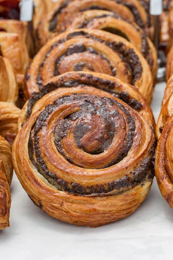 Freshly baked goods in organic bakery. Closeup stock photos
