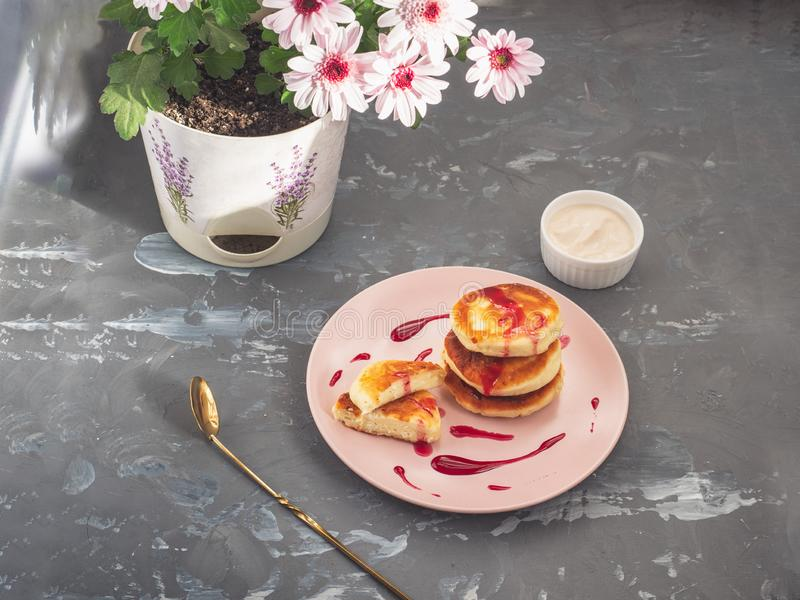 Freshly baked home-made cheese cakes and ice-cream bowl with sour cream, in the background a pot with a pink chrysanthemum flower. On a gray spotted background stock photo