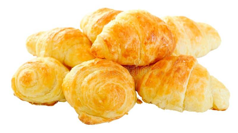 Freshly baked home made mini croissants stock photos