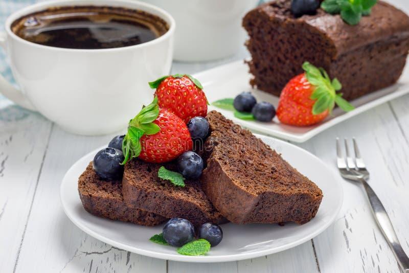 Freshly baked homemade chocolate banana bread (cake) stock images