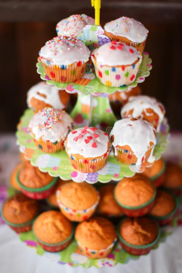 Freshly baked homemade muffins on birthday party. Close-up with shallow dof royalty free stock photos