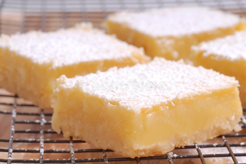 Freshly baked lemon squares cooling on wire rack. Delicious freshly baked lemon squares cooling on a wire rack royalty free stock photo