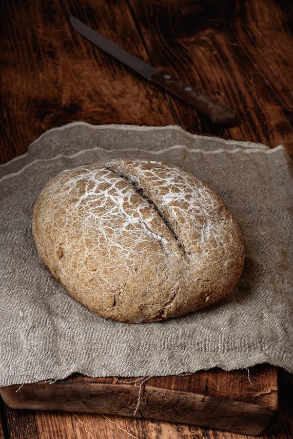 Freshly baked loaf of rye bread stock photo