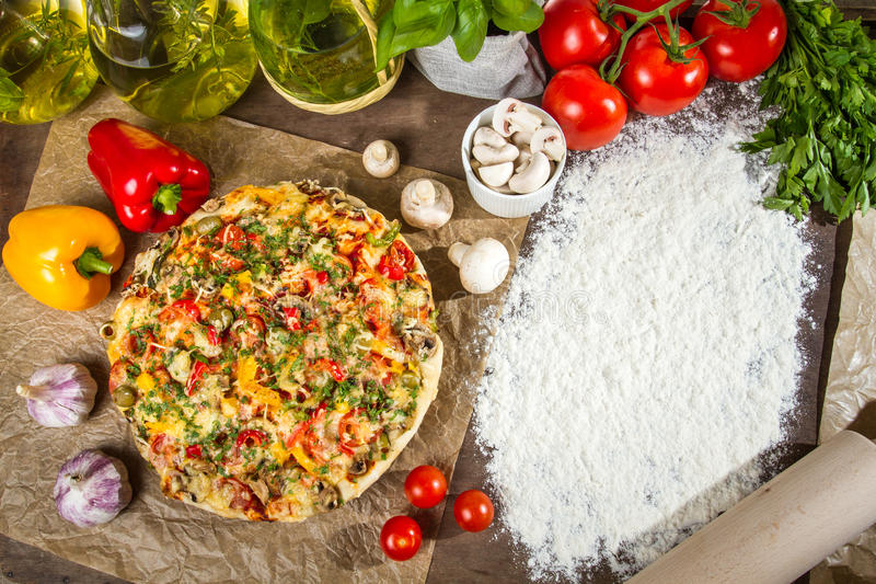 Freshly baked pizza and copy space royalty free stock photo