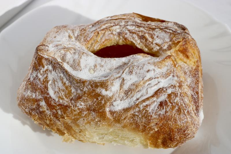Freshly baked puff pastry with cottage cheese. European breakfast. stock photo