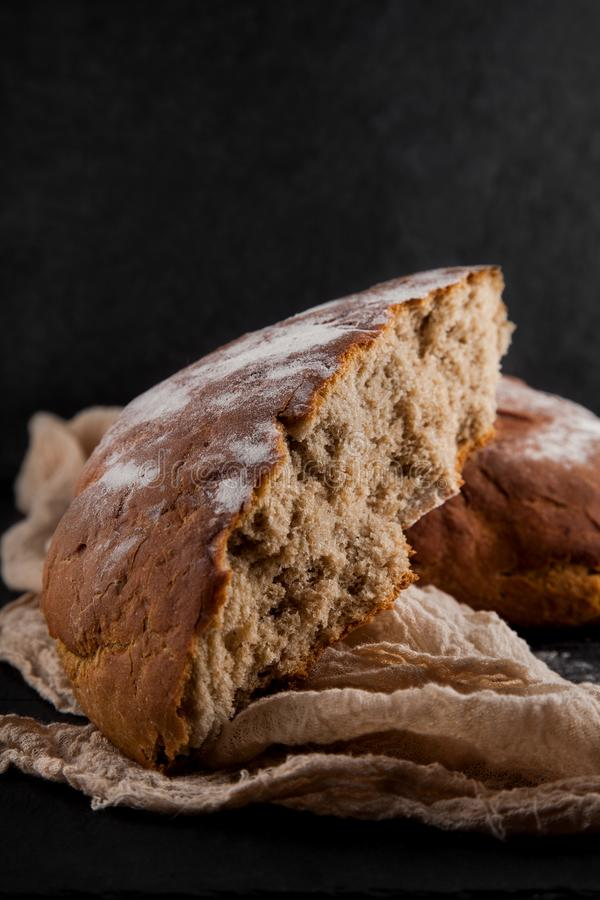 Freshly baked rye, sourdough bread, rustic studio picture stock image