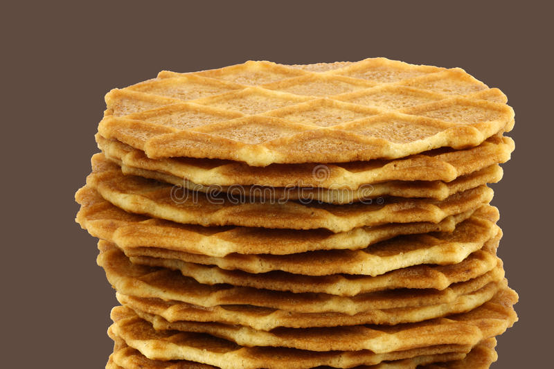 Freshly baked stacked Dutch waffles stock photography