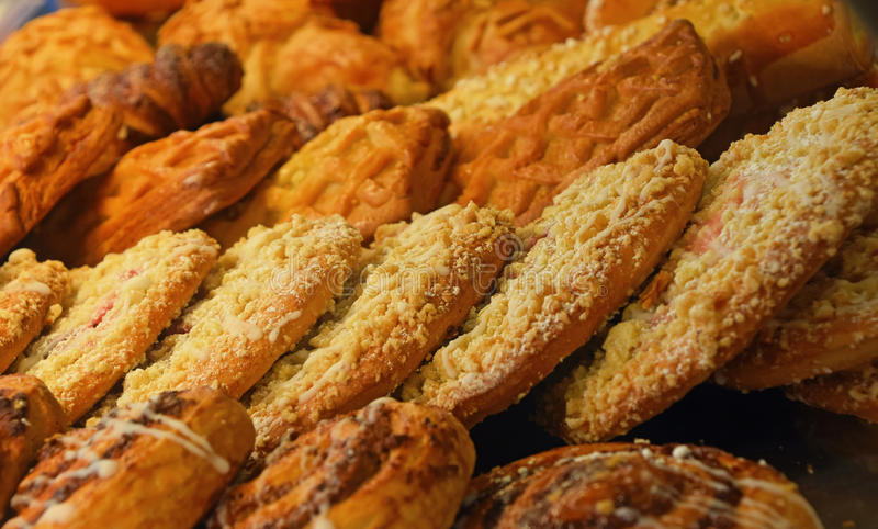 Freshly baked sweet pastry cookies close up royalty free stock photography