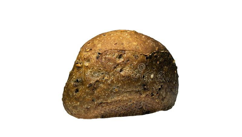 Freshly baked tasty, crispy bread loaf, close-up, isolate on a white background stock photography