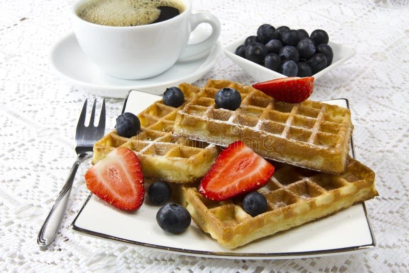 Freshly baked waffles stock photos